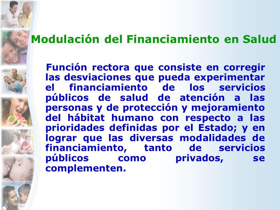 Modulación del Financiamiento en Salud Función rectora que consiste en corregir las desviaciones que pueda experimentar el financiamiento de los servi