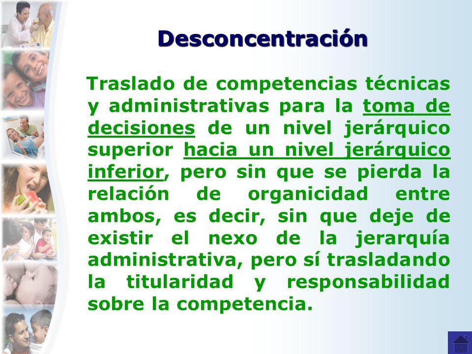 Desconcentración Traslado de competencias técnicas y administrativas para la toma de decisiones de un nivel jerárquico superior hacia un nivel jerárqu