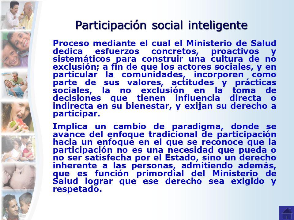 Participación social inteligente Proceso mediante el cual el Ministerio de Salud dedica esfuerzos concretos, proactivos y sistemáticos para construir