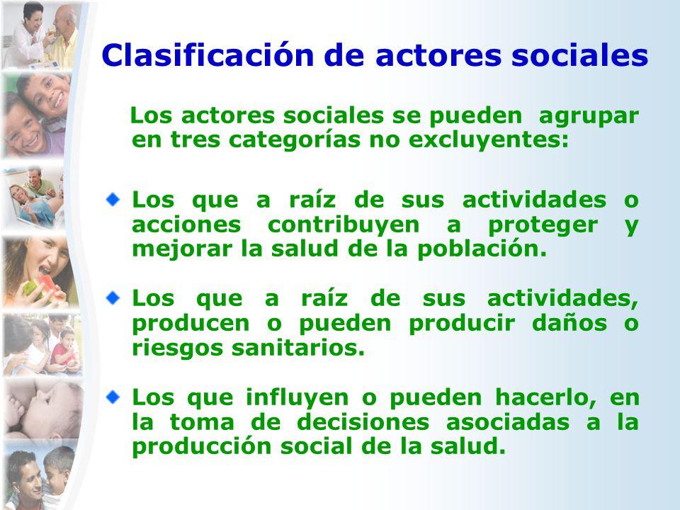 Clasificación de actores sociales Los actores sociales se pueden agrupar en tres categorías no excluyentes: Los que a raíz de sus actividades o accion