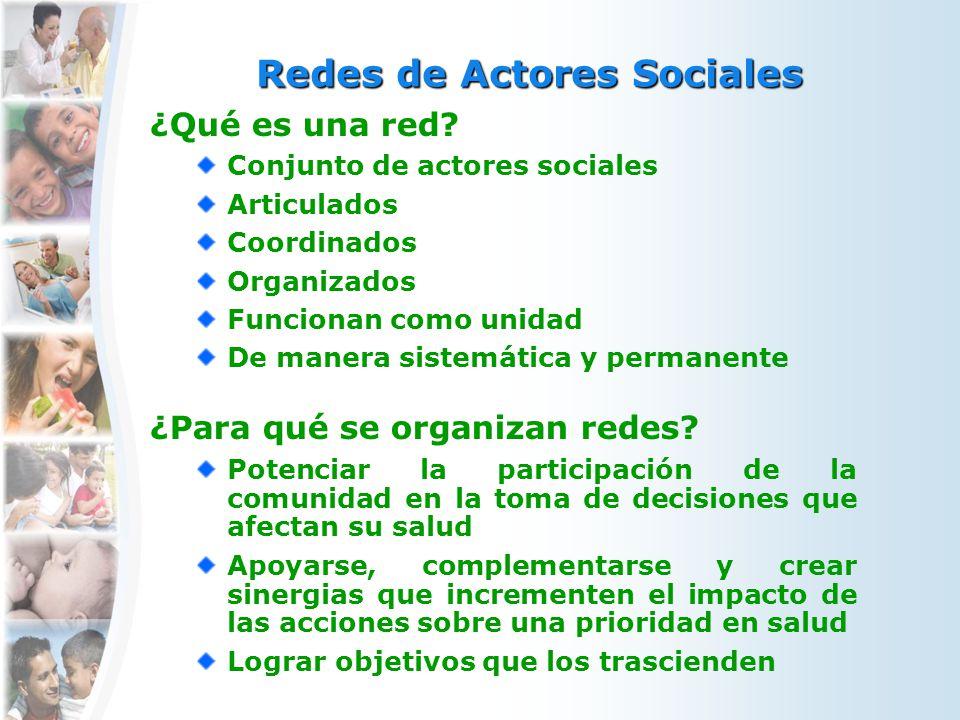 ¿Qué es una red? Conjunto de actores sociales Articulados Coordinados Organizados Funcionan como unidad De manera sistemática y permanente ¿Para qué s