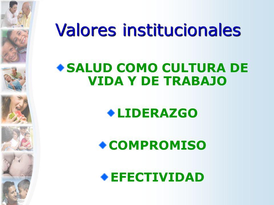 SALUD COMO CULTURA DE VIDA Y DE TRABAJO LIDERAZGO COMPROMISO EFECTIVIDAD Valores institucionales