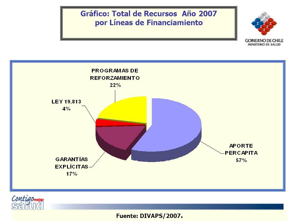 Fuente: DIVAPS/2007. Gráfico: Total de Recursos Año 2007 por Líneas de Financiamiento