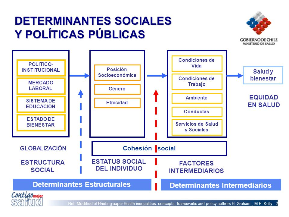 DETERMINANTES SOCIALES Y POLÍTICAS PÚBLICAS Ref: Modified of Briefing paper Health inequalities: concepts, frameworks and policy authors H. Graham, M
