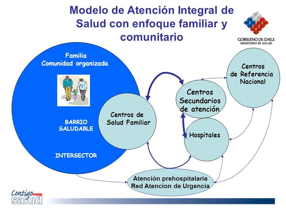 Centros de Referencia Nacional Familia Comunidad organizada BARRIO SALUDABLE INTERSECTOR Centros de Salud Familiar Centros Secundarios de atención Hos
