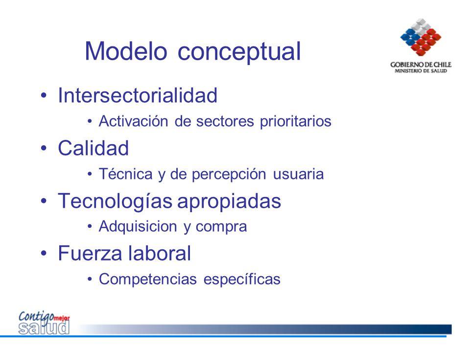 Modelo conceptual Intersectorialidad Activación de sectores prioritarios Calidad Técnica y de percepción usuaria Tecnologías apropiadas Adquisicion y