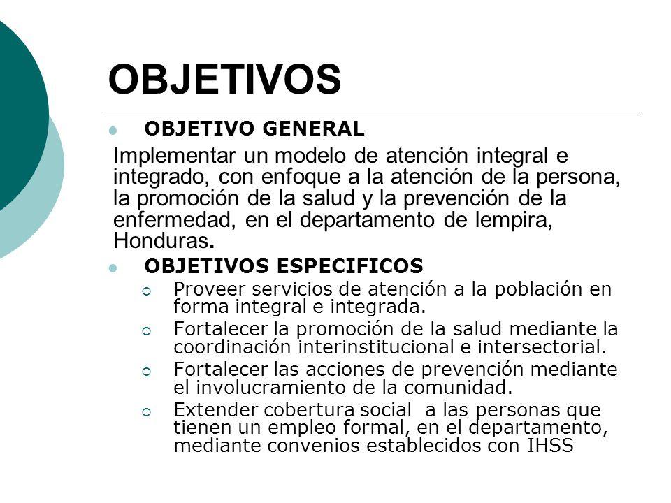 OBJETIVOS OBJETIVO GENERAL Implementar un modelo de atención integral e integrado, con enfoque a la atención de la persona, la promoción de la salud y