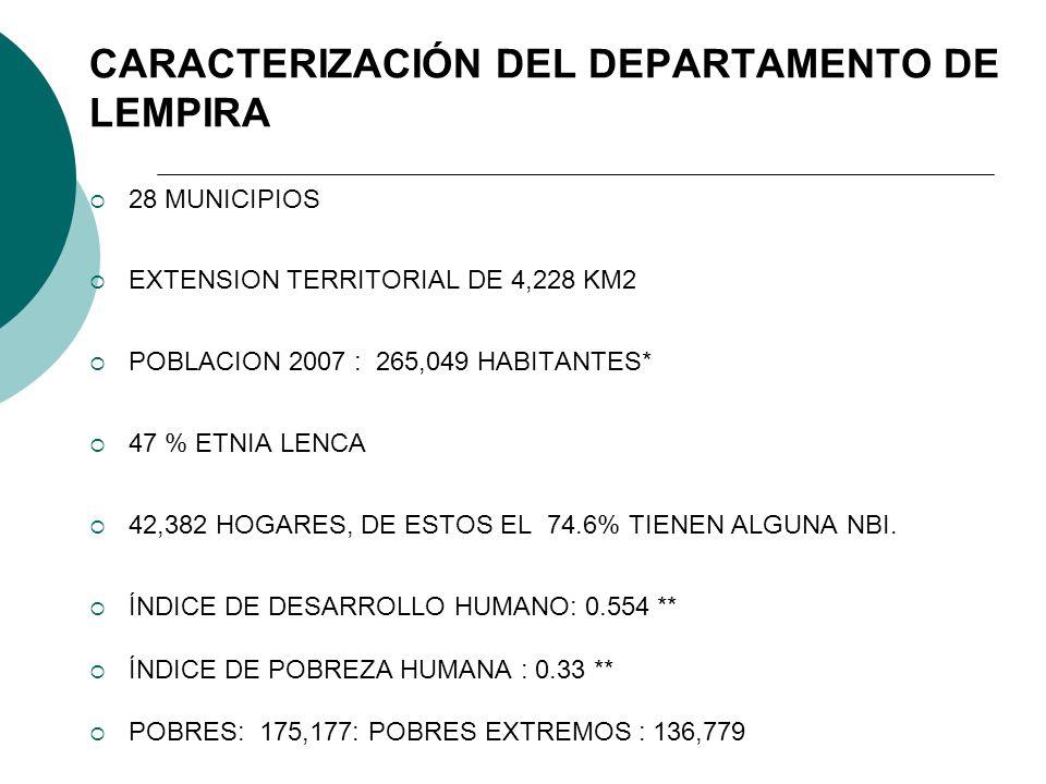 CARACTERIZACIÓN DEL DEPARTAMENTO DE LEMPIRA 28 MUNICIPIOS EXTENSION TERRITORIAL DE 4,228 KM2 POBLACION 2007 : 265,049 HABITANTES* 47 % ETNIA LENCA 42,382 HOGARES, DE ESTOS EL 74.6% TIENEN ALGUNA NBI.