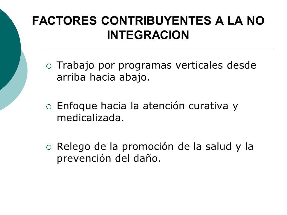 FACTORES CONTRIBUYENTES A LA NO INTEGRACION Trabajo por programas verticales desde arriba hacia abajo.