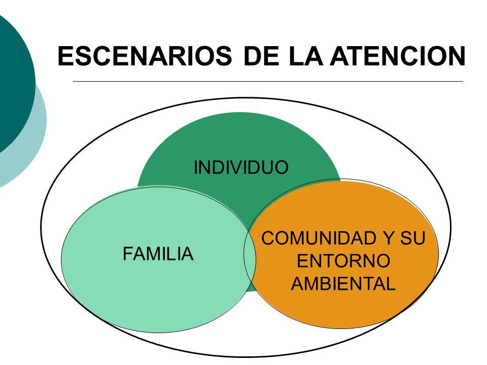 ESCENARIOS DE LA ATENCION INDIVIDUO COMUNIDAD Y SU ENTORNO AMBIENTAL FAMILIA