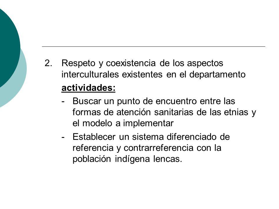 2.Respeto y coexistencia de los aspectos interculturales existentes en el departamento actividades: - Buscar un punto de encuentro entre las formas de