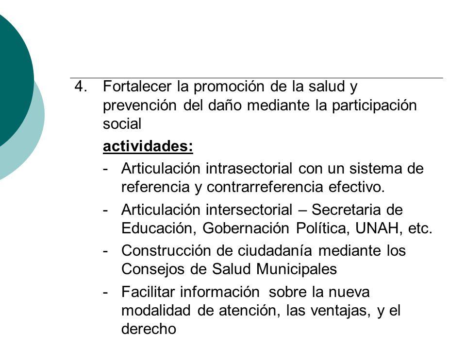 4.Fortalecer la promoción de la salud y prevención del daño mediante la participación social actividades: - Articulación intrasectorial con un sistema