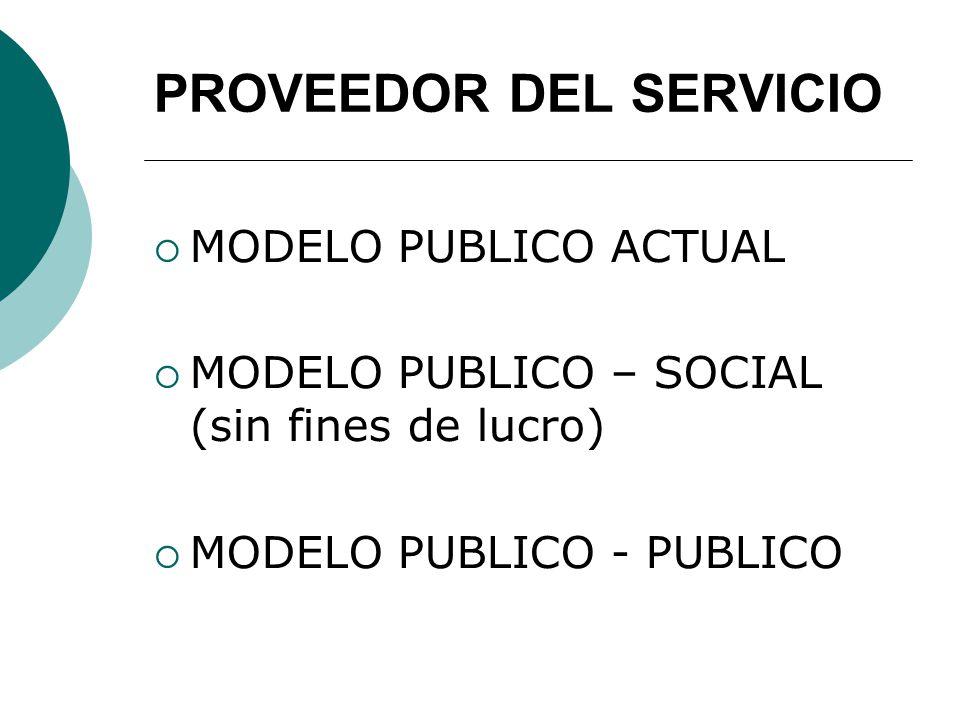 PROVEEDOR DEL SERVICIO MODELO PUBLICO ACTUAL MODELO PUBLICO – SOCIAL (sin fines de lucro) MODELO PUBLICO - PUBLICO