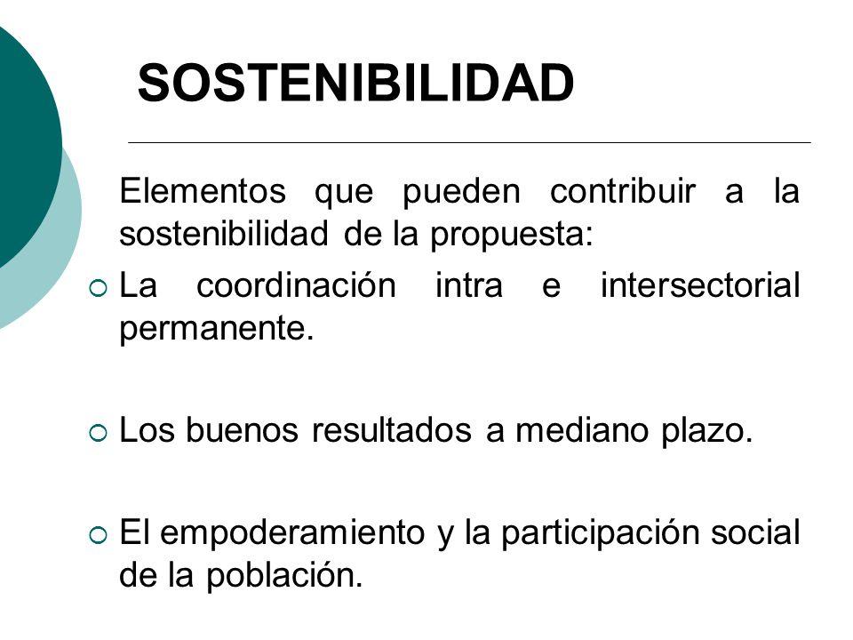 SOSTENIBILIDAD Elementos que pueden contribuir a la sostenibilidad de la propuesta: La coordinación intra e intersectorial permanente. Los buenos resu
