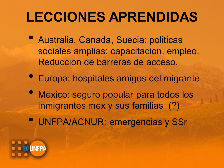 LECCIONES APRENDIDAS Australia, Canada, Suecia: politicas sociales amplias: capacitacion, empleo. Reduccion de barreras de acceso. Europa: hospitales