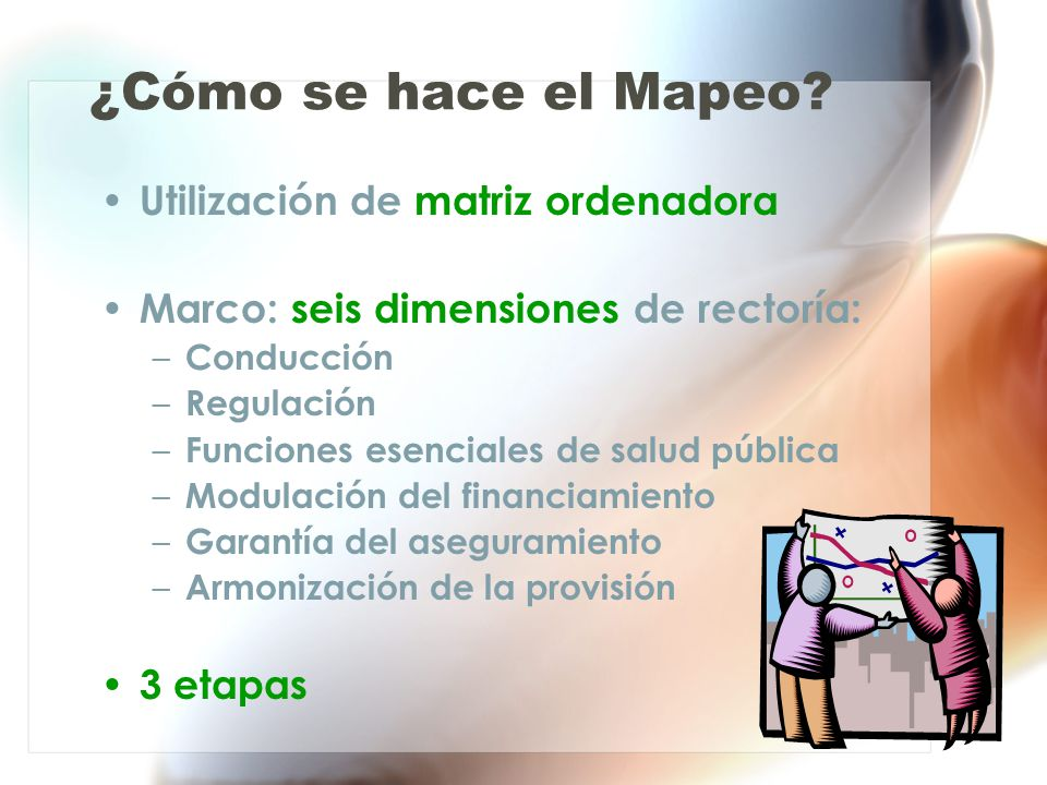 ¿Cómo se hace el Mapeo? Utilización de matriz ordenadora Marco: seis dimensiones de rectoría: – Conducción – Regulación – Funciones esenciales de salu