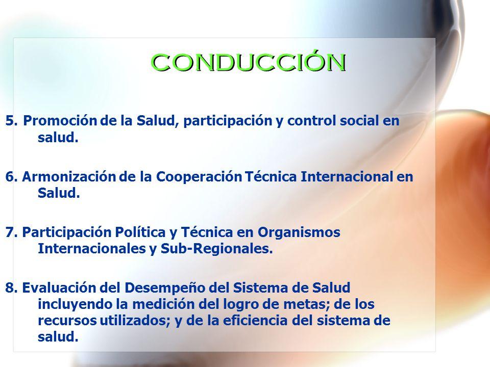 CONDUCCIÓN 5. Promoción de la Salud, participación y control social en salud. 6. Armonización de la Cooperación Técnica Internacional en Salud. 7. Par
