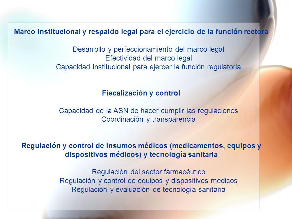 Marco institucional y respaldo legal para el ejercicio de la función rectora Desarrollo y perfeccionamiento del marco legal Efectividad del marco lega