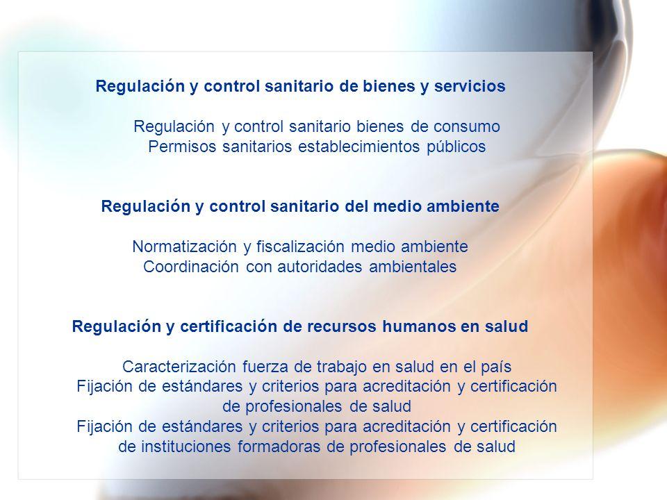 Regulación y control sanitario de bienes y servicios Regulación y control sanitario bienes de consumo Permisos sanitarios establecimientos públicos Regulación y control sanitario del medio ambiente Normatización y fiscalización medio ambiente Coordinación con autoridades ambientales Regulación y certificación de recursos humanos en salud Caracterización fuerza de trabajo en salud en el país Fijación de estándares y criterios para acreditación y certificación de profesionales de salud Fijación de estándares y criterios para acreditación y certificación de instituciones formadoras de profesionales de salud