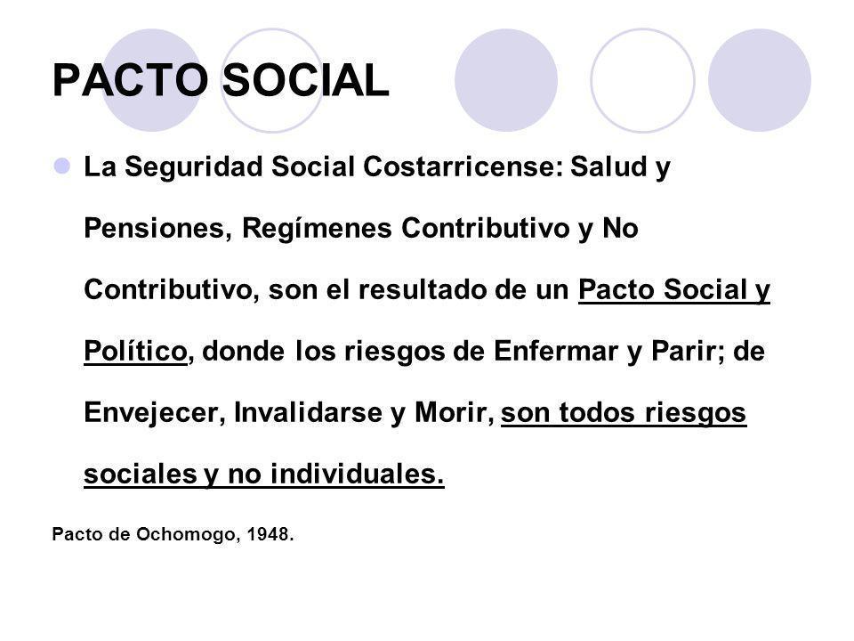 PACTO SOCIAL La Seguridad Social Costarricense: Salud y Pensiones, Regímenes Contributivo y No Contributivo, son el resultado de un Pacto Social y Pol