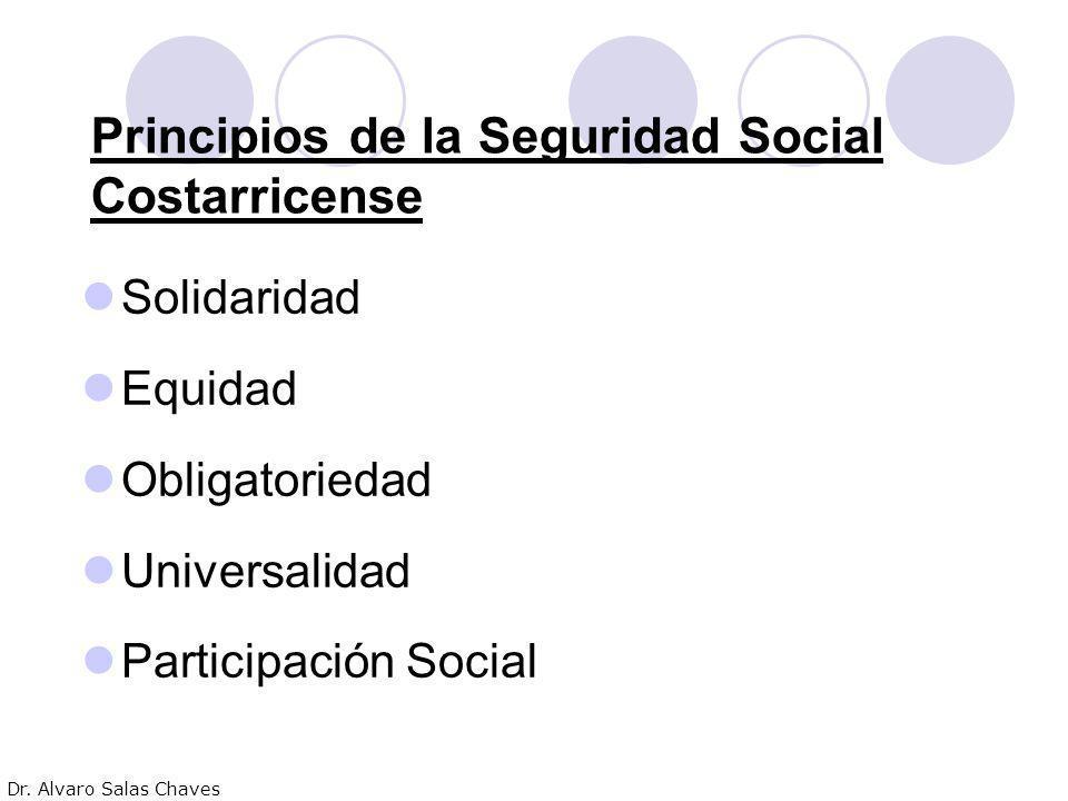 Principios de la Seguridad Social Costarricense Solidaridad Equidad Obligatoriedad Universalidad Participación Social Dr. Alvaro Salas Chaves