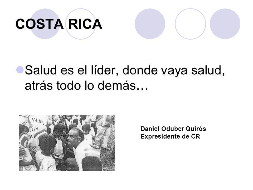 COSTA RICA Salud es el líder, donde vaya salud, atrás todo lo demás… Daniel Oduber Quirós Expresidente de CR