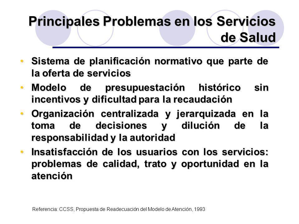 Principales Problemas en los Servicios de Salud Sistema de planificación normativo que parte de la oferta de serviciosSistema de planificación normati