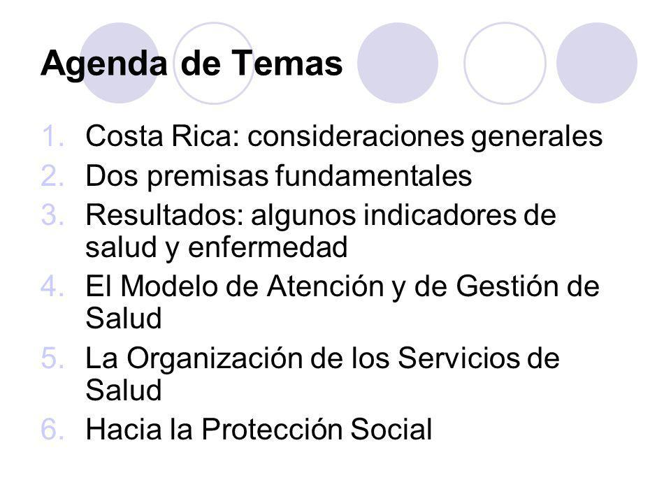Agenda de Temas 1.Costa Rica: consideraciones generales 2.Dos premisas fundamentales 3.Resultados: algunos indicadores de salud y enfermedad 4.El Mode