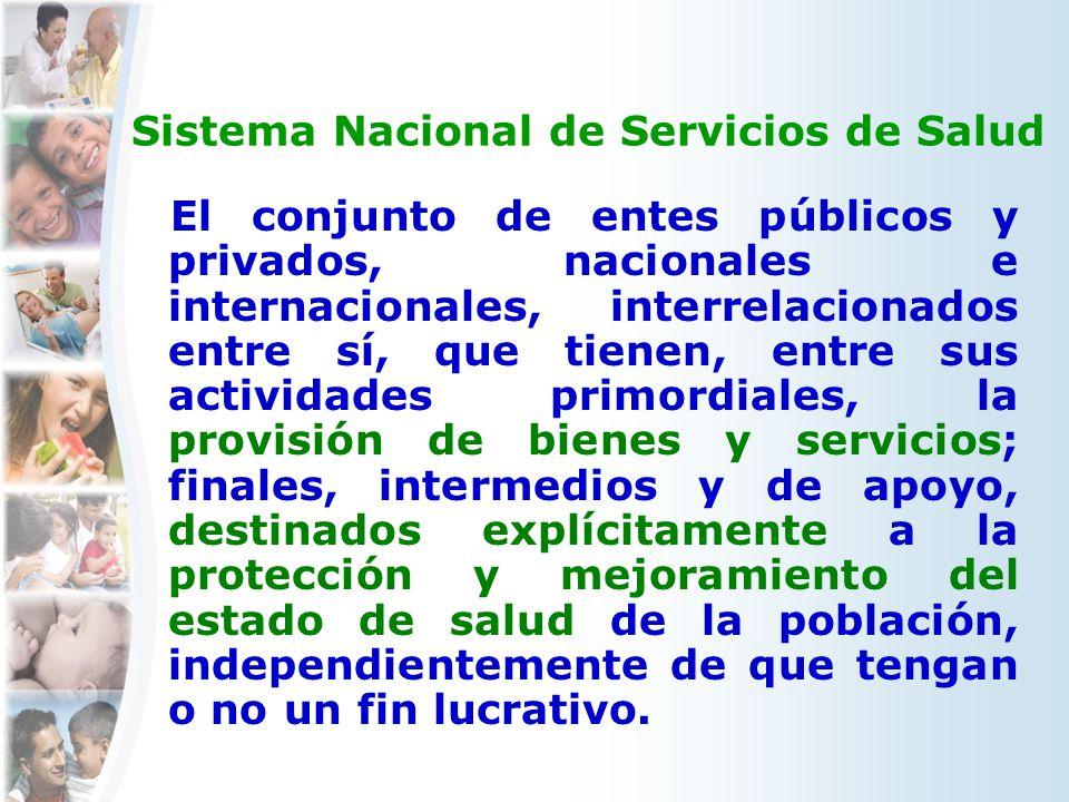 Sistema Nacional de Servicios de Salud El conjunto de entes públicos y privados, nacionales e internacionales, interrelacionados entre sí, que tienen,