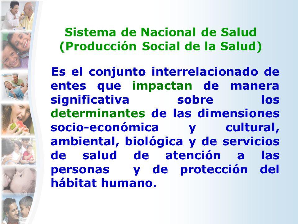 Sistema de Nacional de Salud (Producción Social de la Salud) Es el conjunto interrelacionado de entes que impactan de manera significativa sobre los d