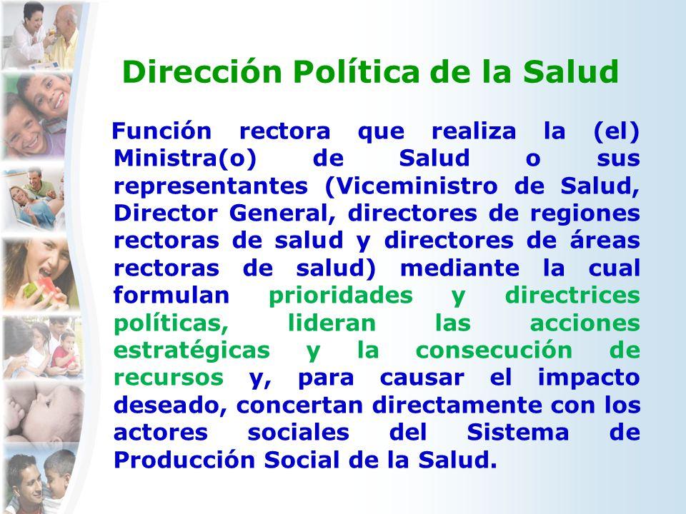 Dirección Política de la Salud Función rectora que realiza la (el) Ministra(o) de Salud o sus representantes (Viceministro de Salud, Director General,