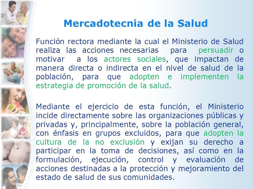 Mercadotecnia de la Salud Función rectora mediante la cual el Ministerio de Salud realiza las acciones necesarias para persuadir o motivar a los actor