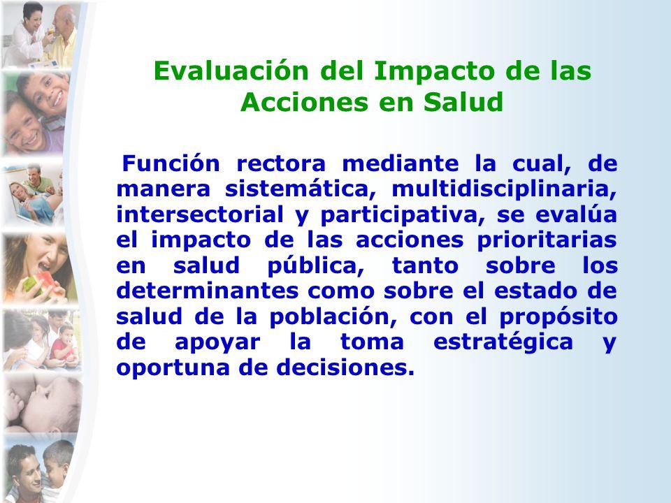 Evaluación del Impacto de las Acciones en Salud Función rectora mediante la cual, de manera sistemática, multidisciplinaria, intersectorial y particip