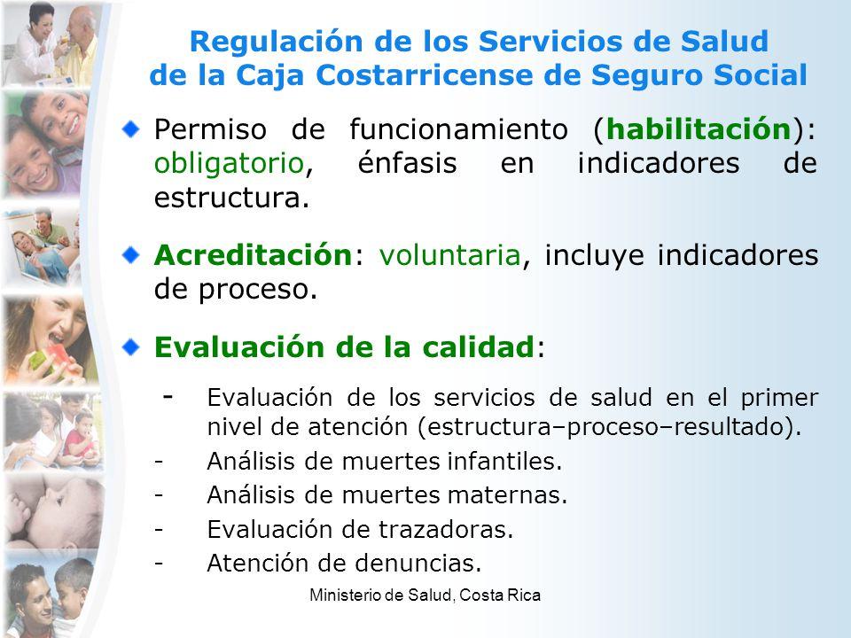 Regulación de los Servicios de Salud de la Caja Costarricense de Seguro Social Permiso de funcionamiento (habilitación): obligatorio, énfasis en indic
