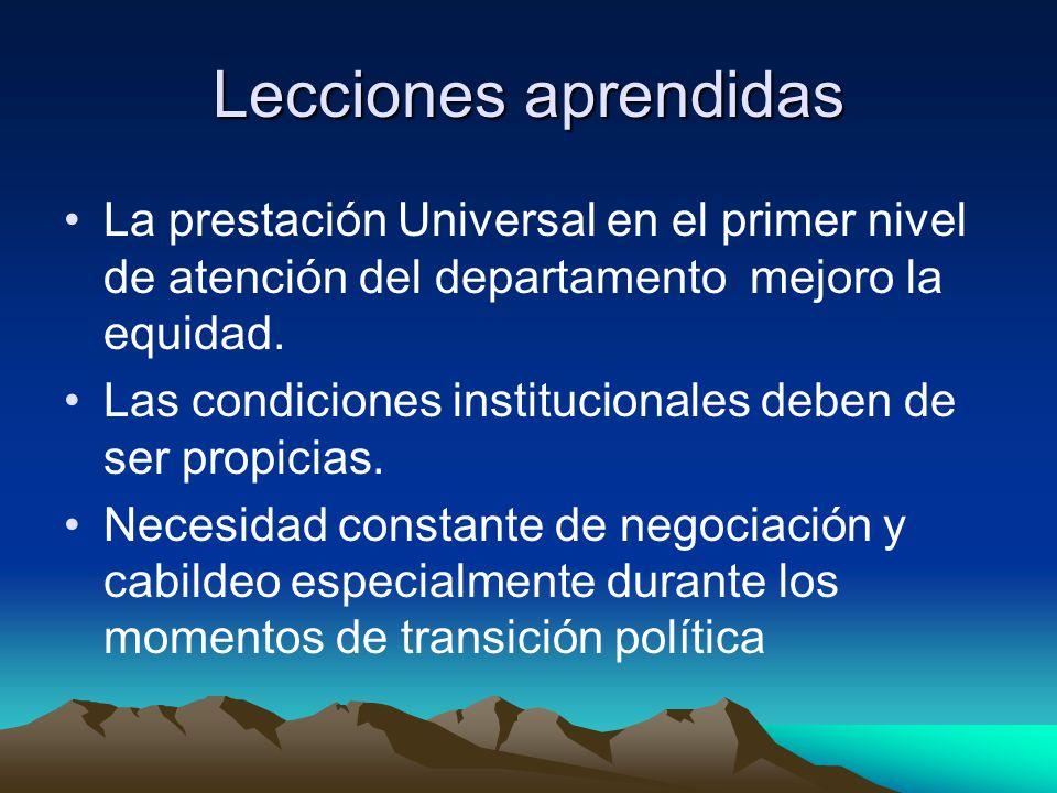 Lecciones aprendidas La prestación Universal en el primer nivel de atención del departamento mejoro la equidad. Las condiciones institucionales deben