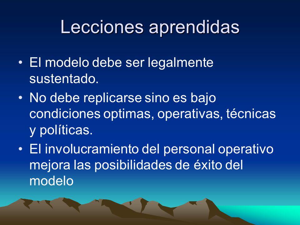 Lecciones aprendidas El modelo debe ser legalmente sustentado. No debe replicarse sino es bajo condiciones optimas, operativas, técnicas y políticas.