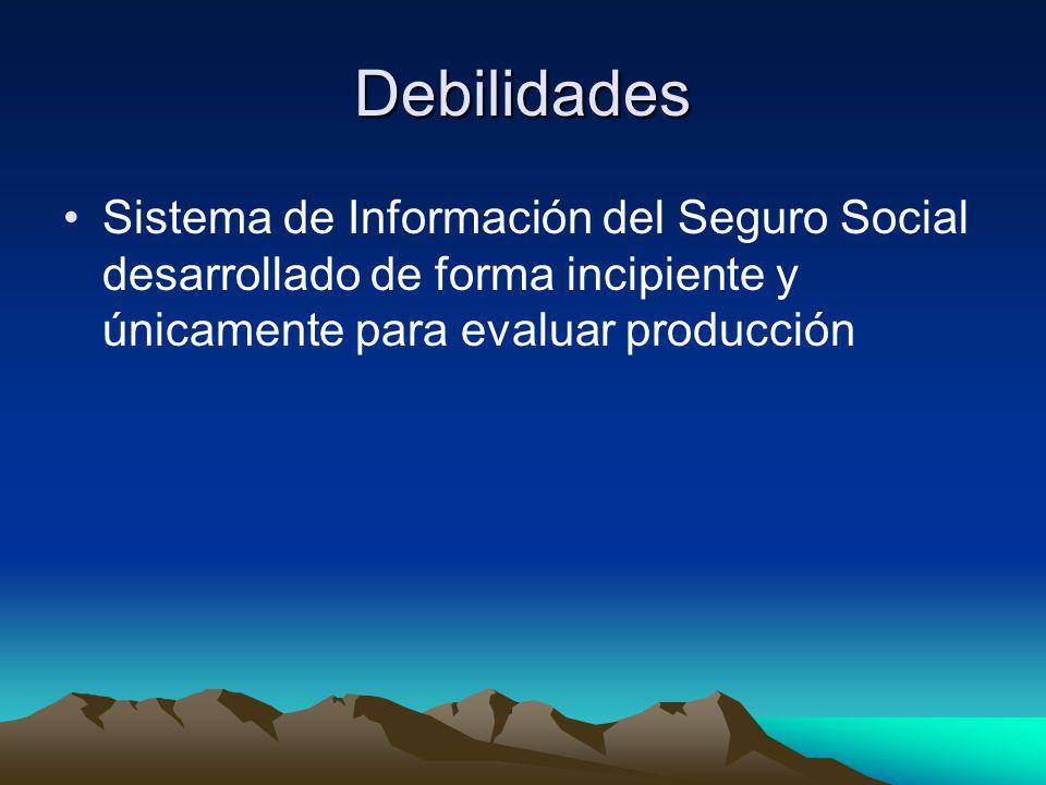 Debilidades Sistema de Información del Seguro Social desarrollado de forma incipiente y únicamente para evaluar producción