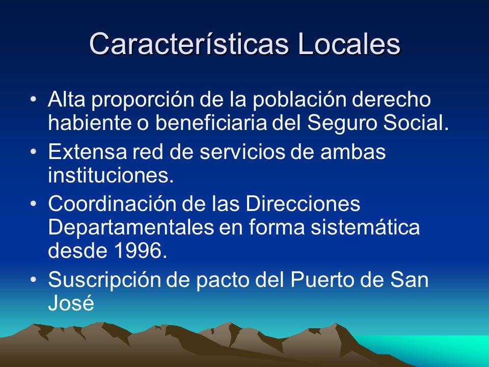 Características Locales Alta proporción de la población derecho habiente o beneficiaria del Seguro Social. Extensa red de servicios de ambas instituci