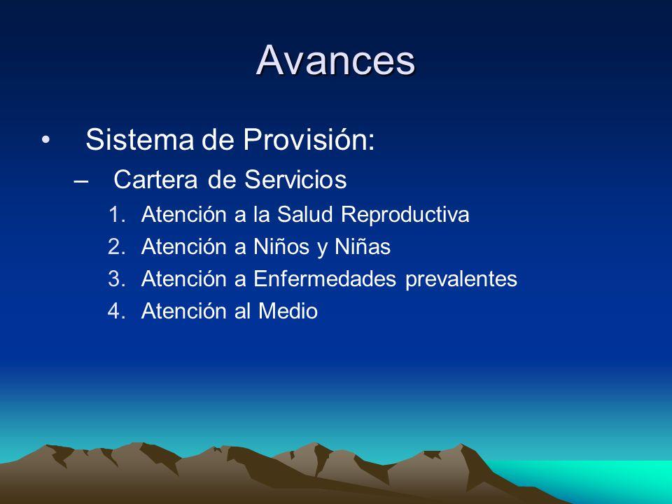 Avances Sistema de Provisión: –Cartera de Servicios 1.Atención a la Salud Reproductiva 2.Atención a Niños y Niñas 3.Atención a Enfermedades prevalente