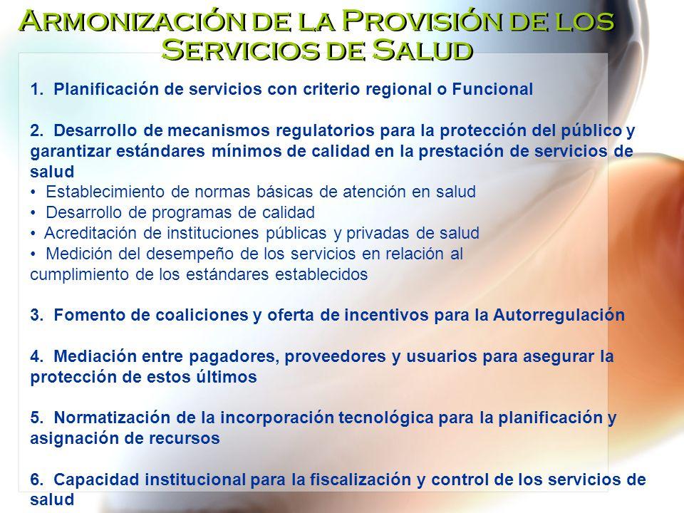 Armonización de la Provisión de los Servicios de Salud 1. Planificación de servicios con criterio regional o Funcional 2. Desarrollo de mecanismos reg