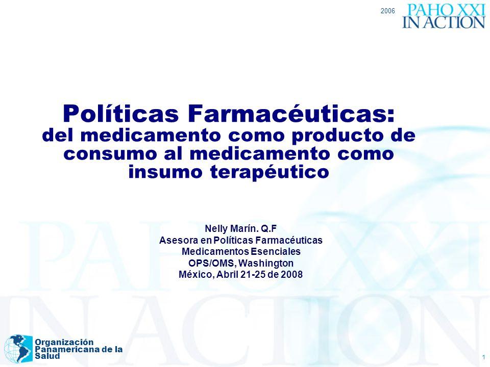 2006 Organización Panamericana de la Salud 1 Políticas Farmacéuticas: del medicamento como producto de consumo al medicamento como insumo terapéutico