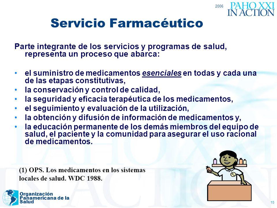2006 Organización Panamericana de la Salud 15 Servicio Farmacéutico Parte integrante de los servicios y programas de salud, representa un proceso que