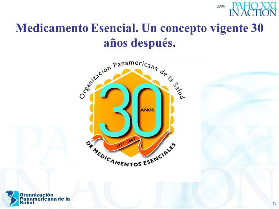 2006 Organización Panamericana de la Salud 16 Medicamento Esencial. Un concepto vigente 30 años después.