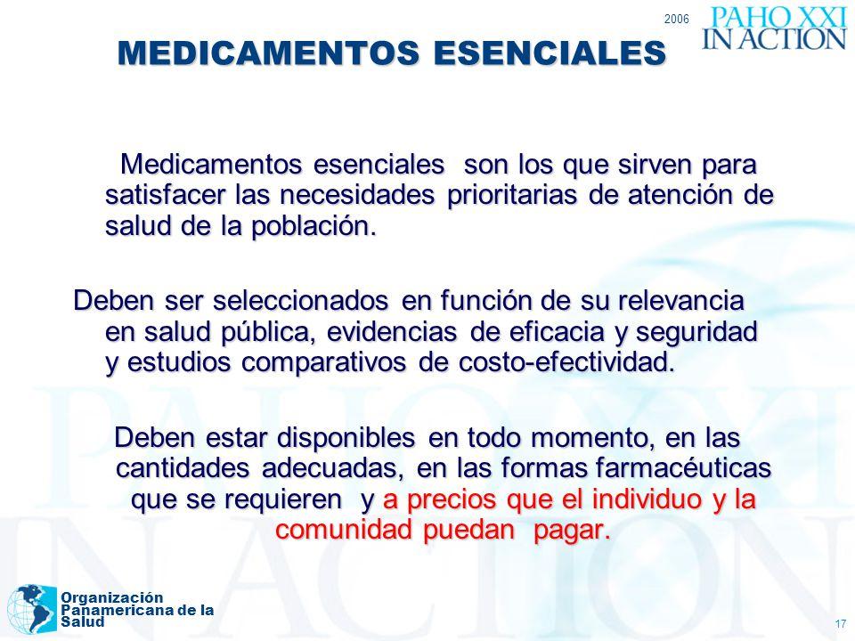 2006 Organización Panamericana de la Salud 17 MEDICAMENTOS ESENCIALES Medicamentos esenciales son los que sirven para satisfacer las necesidades prior