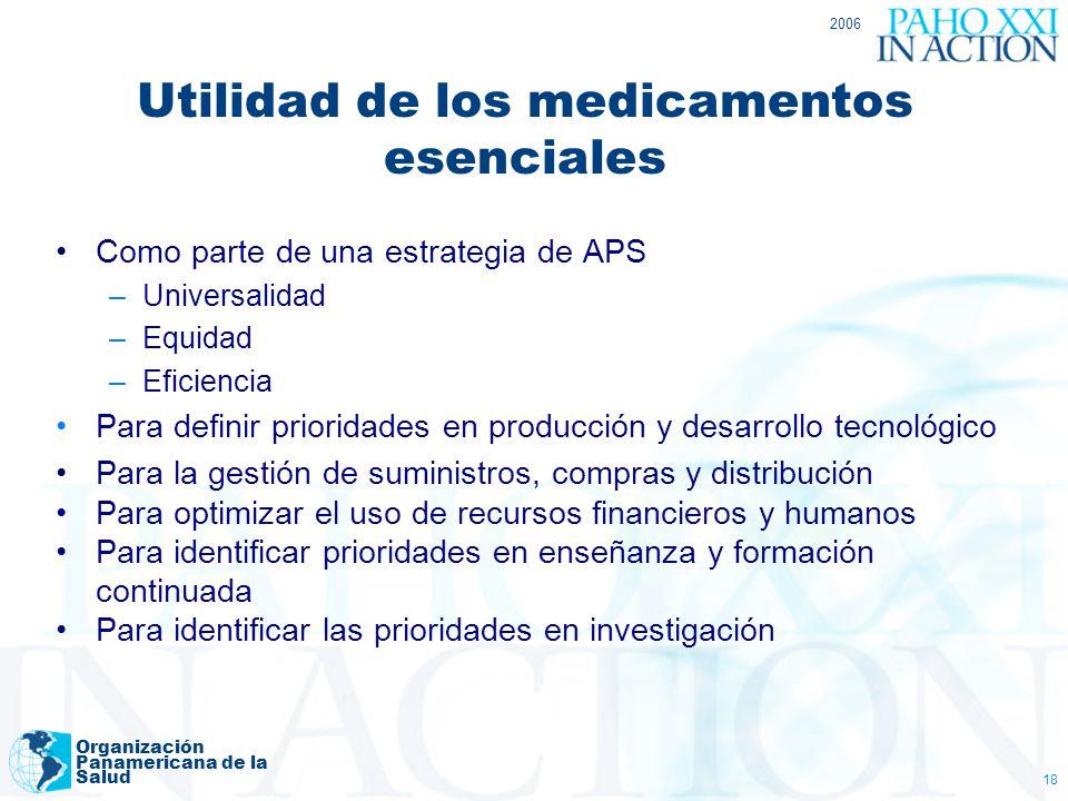 2006 Organización Panamericana de la Salud 18 Como parte de una estrategia de APS –Universalidad –Equidad –Eficiencia Para definir prioridades en prod