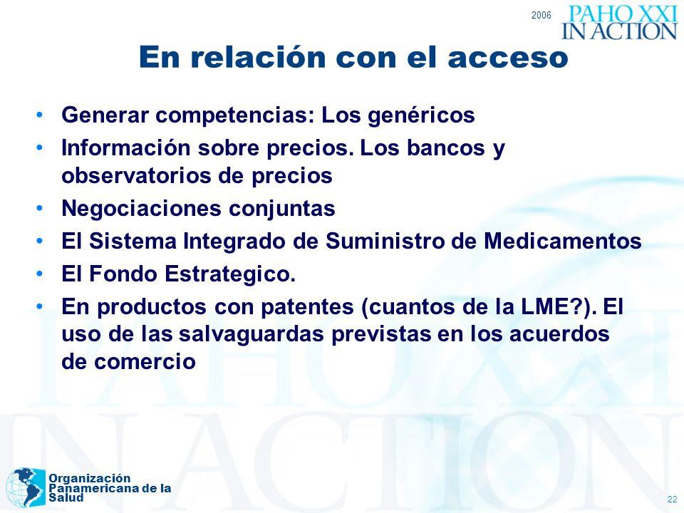 2006 Organización Panamericana de la Salud 22 En relación con el acceso Generar competencias: Los genéricos Información sobre precios. Los bancos y ob