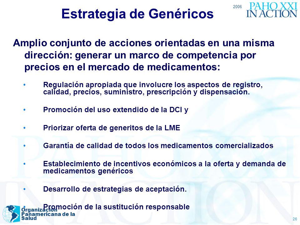 2006 Organización Panamericana de la Salud 26 Estrategia de Genéricos Amplio conjunto de acciones orientadas en una misma dirección: generar un marco