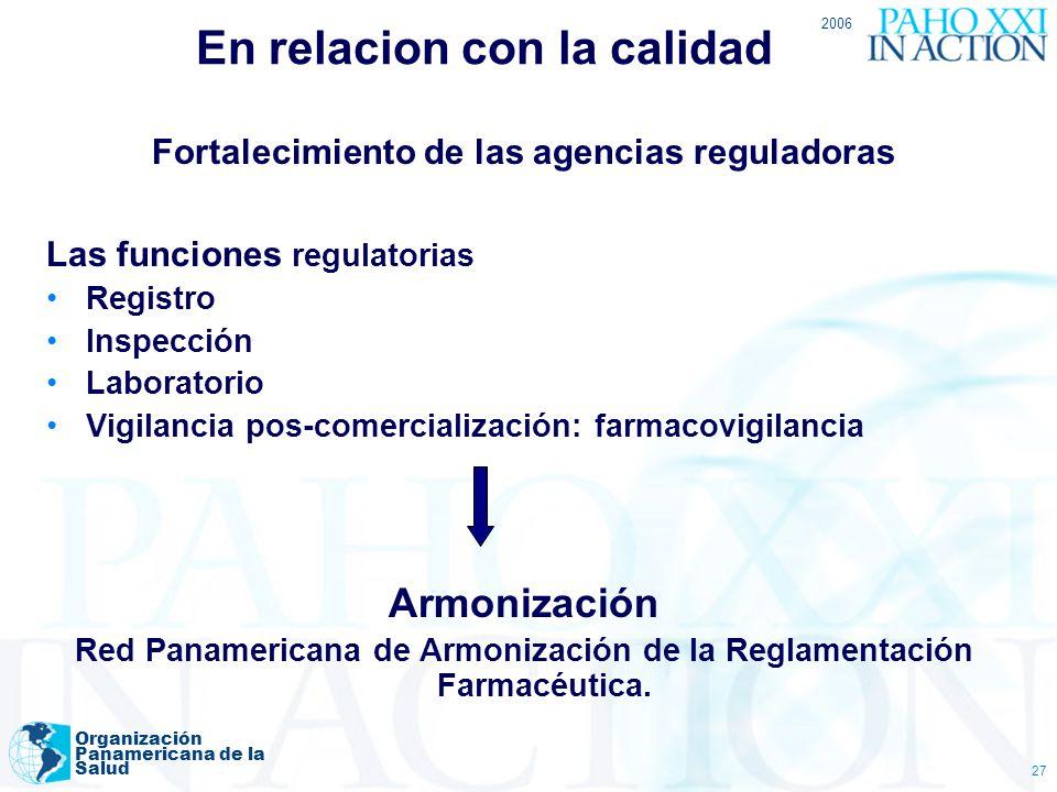 2006 Organización Panamericana de la Salud 27 En relacion con la calidad Fortalecimiento de las agencias reguladoras Las funciones regulatorias Regist