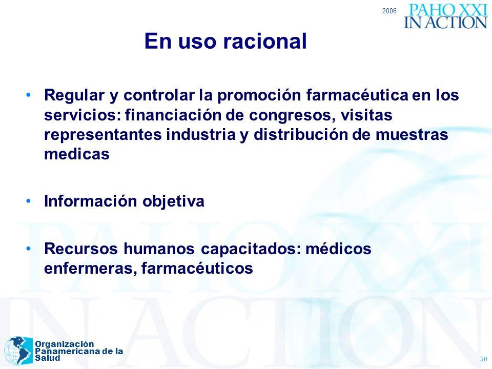 2006 Organización Panamericana de la Salud 30 En uso racional Regular y controlar la promoción farmacéutica en los servicios: financiación de congreso