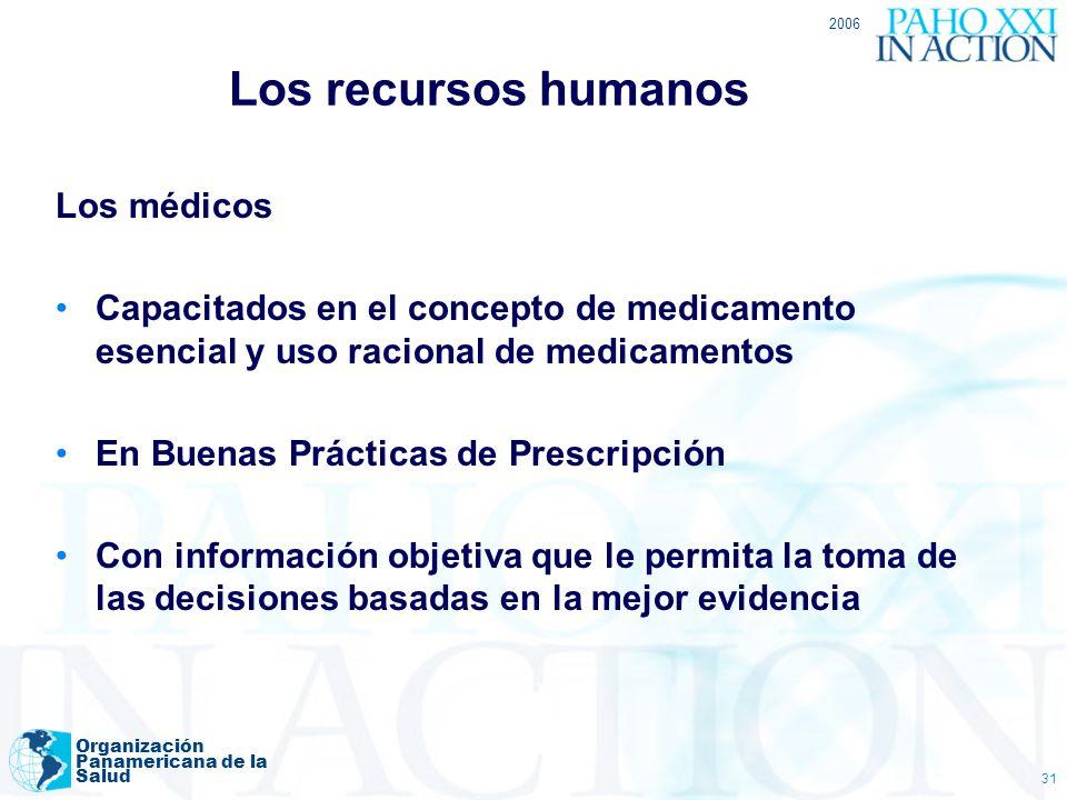 2006 Organización Panamericana de la Salud 31 Los recursos humanos Los médicos Capacitados en el concepto de medicamento esencial y uso racional de me